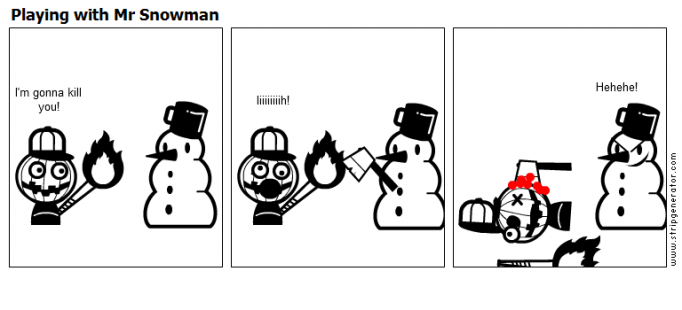 Playing with Mr Snowman