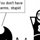 Armless black humor
