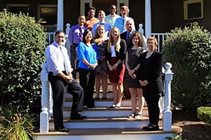 Admissions group in front of Scanlan Hall