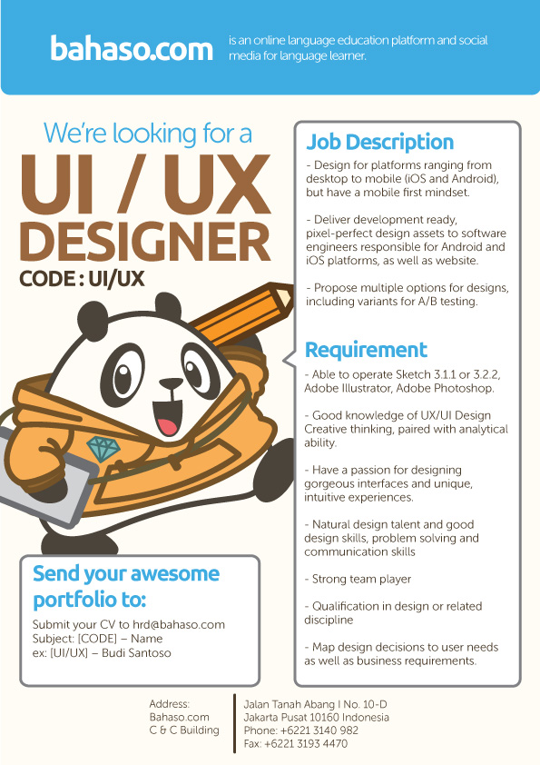 UIUX Designer Bahaso StudentJob Indonesia – Ux Designer Job Description
