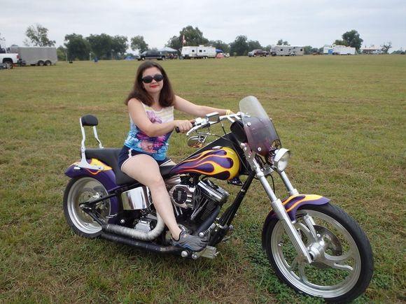 woman on ulgra ground pounder motorcycle