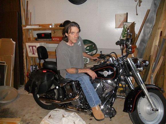 bike in workshop garage harley davidson