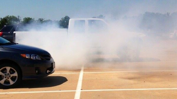 black car burnout