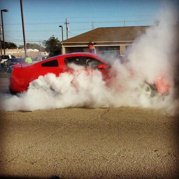 red car burnout