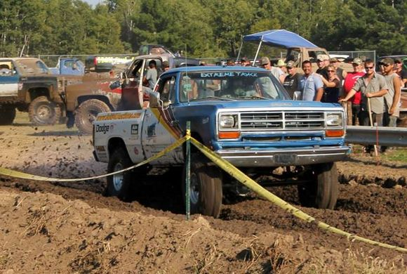 pickup truck in mud race