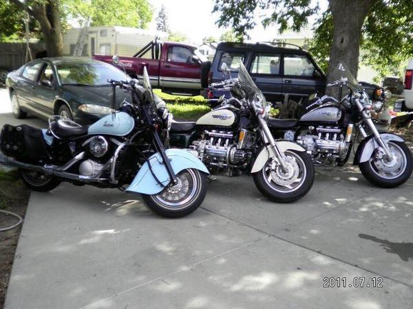three motorcycles