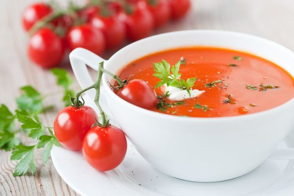 tomato soup with basil yogurt cream