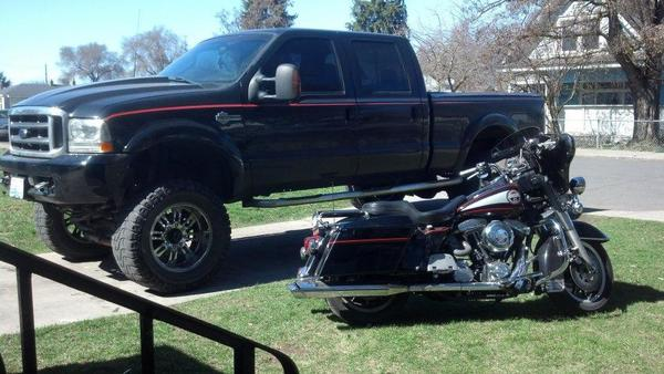 truck and motorcycle