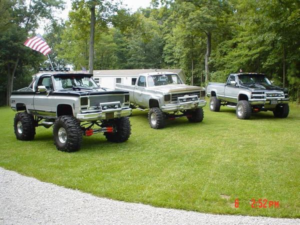 trucks on lawn