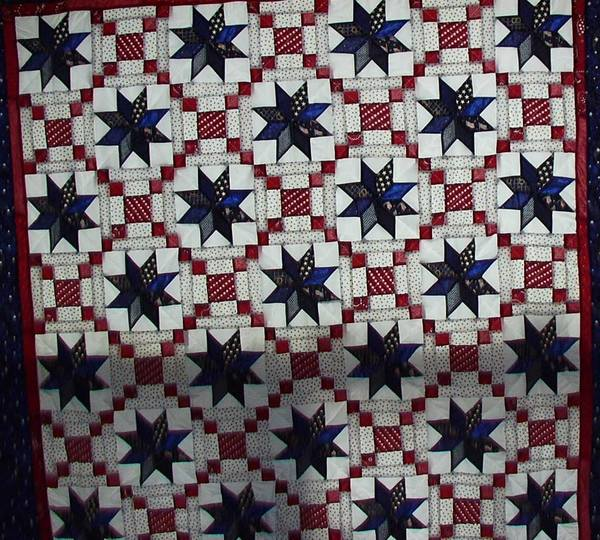 Quilted Stars in Red, White and Blue 24 Blocks