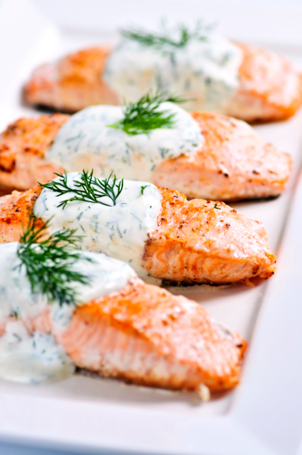 Zesty  Seafood Recipe: Baked Salmon with Creamy Dill Sauce