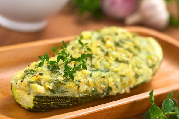 Stuffed Veggie Recipe:  Zucchini with Pesto Mashed Potatoes