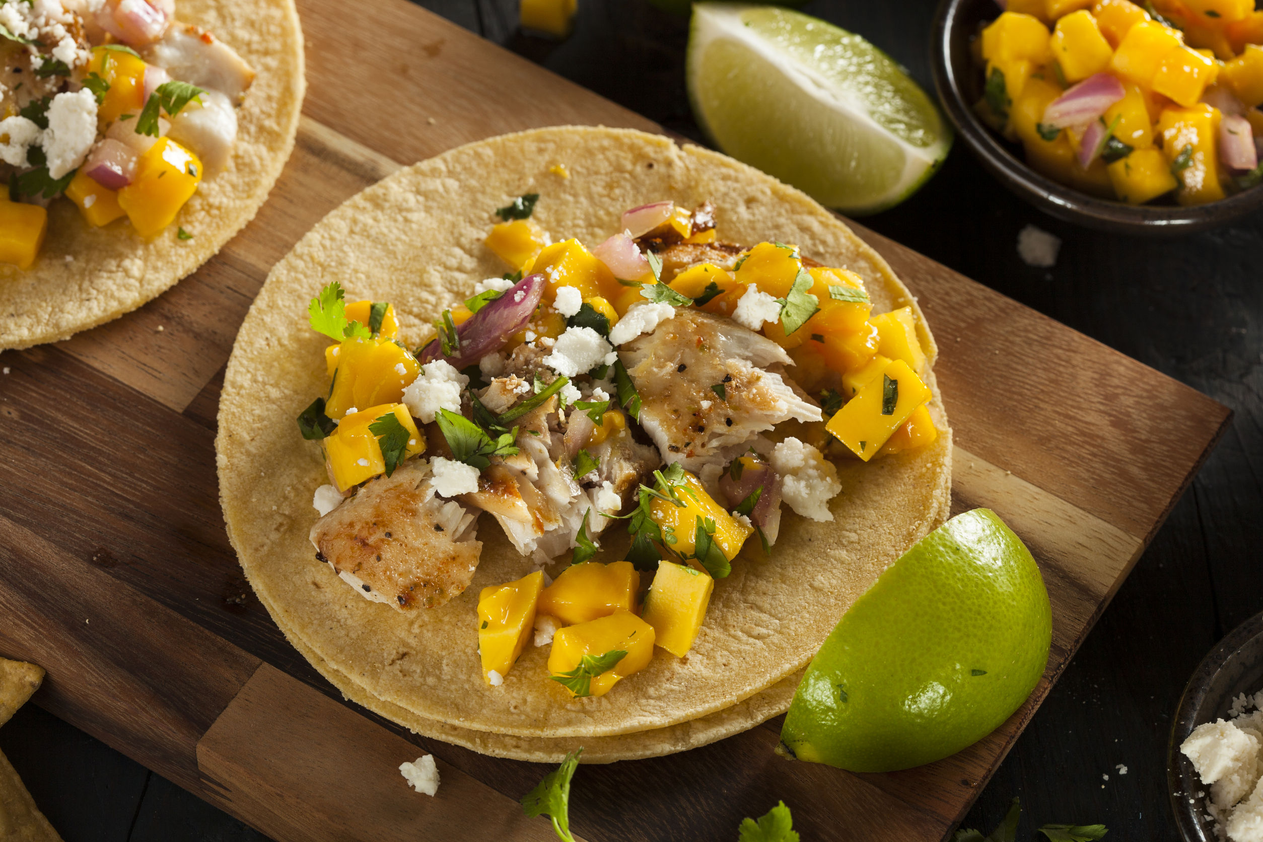 Seafood recipe baked fish tacos with mango salsa 12 for Salsa for fish tacos