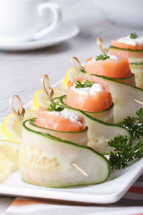 Fancy Appetizer Recipe: Cucumber, Salmon & Cream Cheese Rolls