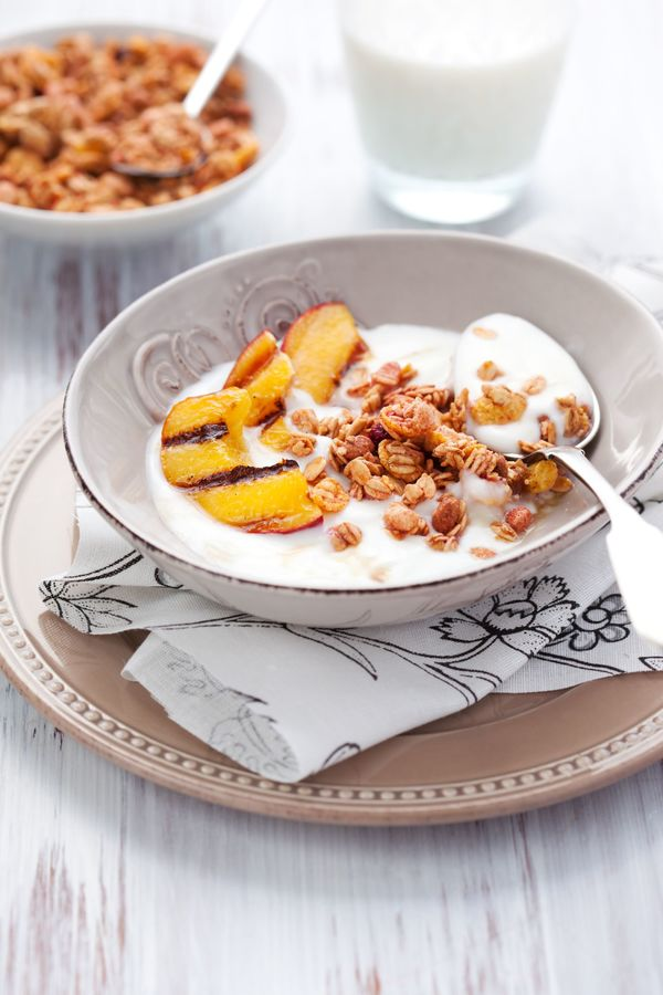 Tasty And Healthy Breakfast: Homemade Muesli With Sweet Grilled Peaches
