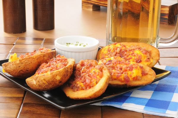 Hearty Game Day Starter: Cheesy Bacon Stuffed Potato Skins