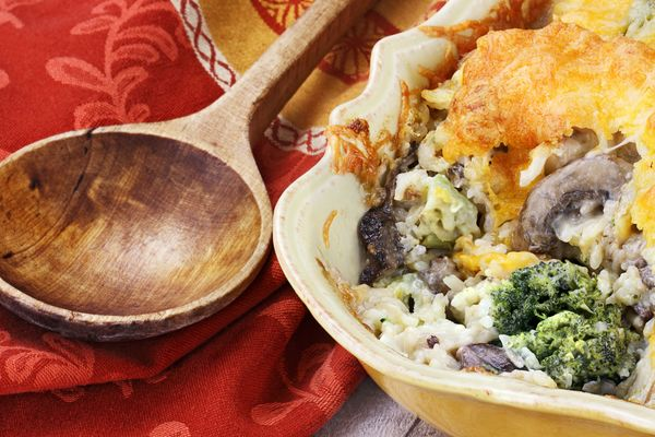 Cheesy Veggie Bake: Cheesy Mushroom Broccoli Brown Rice Casserole