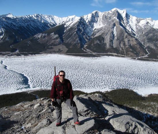 Me on Mount Michener. Abraham Lake is below
