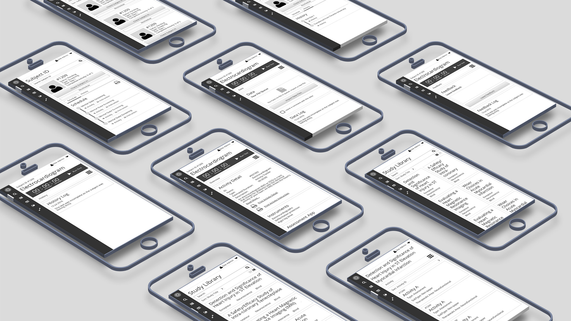 Sunrise: Clinical research app wireframe