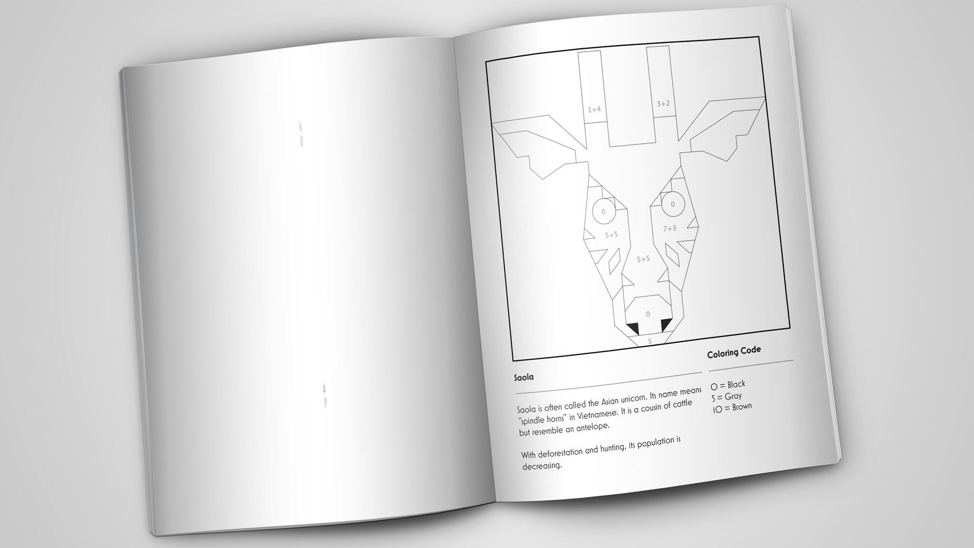 Color By Number Illustration Book of Endangered Species