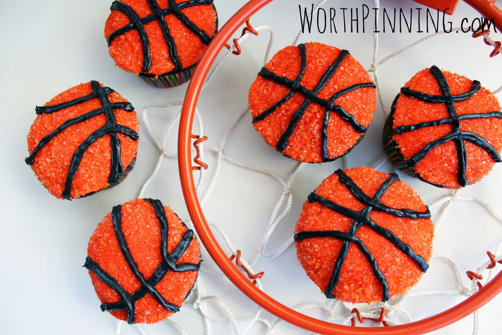 basketball cupcakes orange spinkles