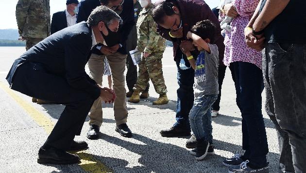 Blinken meets with unaccompanied Afghan children at Ramstein Air Base