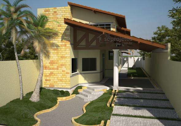 Planta de Casa Sobrado 3 suites e 85 metros de frente  Cód 88  So