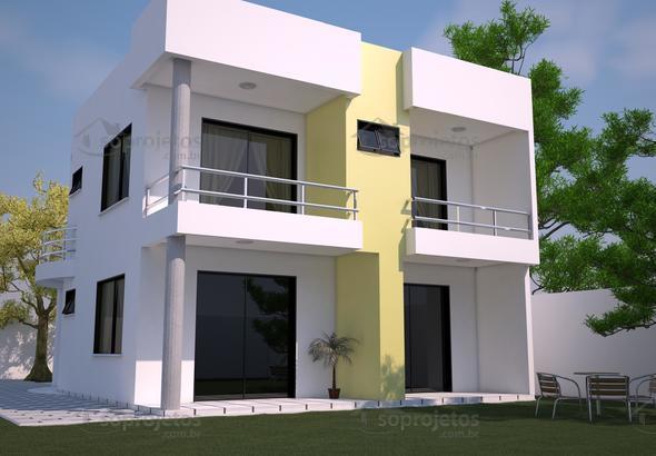 Cod 93 modelo de casa fundos sobrado moderno