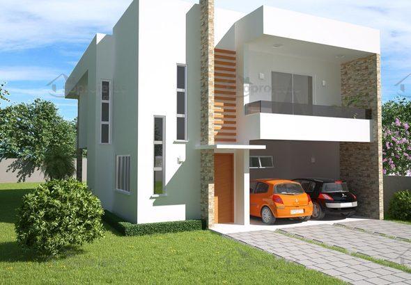 Sobrado 3 quartos com varanda gourmet c d 98 soprojetos for Plano casa moderna 90m2