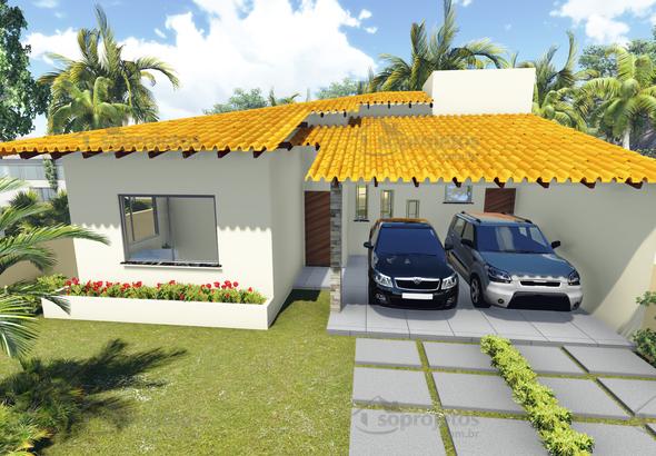 Planta de casa t rrea com 3 quartos e varanda gourmet for Casa moderna 2 andares 3 quartos