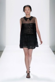 #7 EMBROIDERED BANDED LACE SLEEVELESS BLOUSE WITH TROMPE L'OEIL COLLAR AND EMBROIDERED BANDED LACE SHORTS