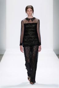 #10 EMBROIDERED BANDED LACE LONG SLEEVE BLOUSE WITH TROMPE L'OEIL COLLAR AND EMBROIDERED BANDED LACE PANTS