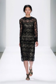 #12 CHANTILLY LACE LONG SLEEVE BLOUSON DRESS WITH TROMPE L'OEIL COLLAR