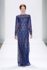 #16 CHANTILLY LACE LONG SLEEVE SCALLOP NECKLINE GOWN