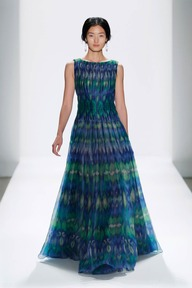 #25 IKAT PRINTED GAZAR PLEATED BOATNECK CIRCULAR SKIRT GOWN