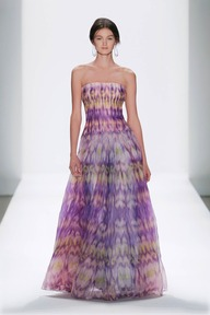#26 IKAT PRINTED GAZAR STRAPLESS CIRCULAR SKIRT PLEATED GOWN