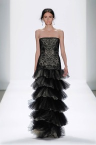 #34 TULLE AND EMBROIDERED LACE STRAPLESS TIERED DROP WAIST GOWN