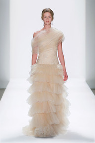 #35 TULLE AND EMBELLISHED FLORAL APPLIQUE AND LACE TIERED ONE SHOULDER GOWN