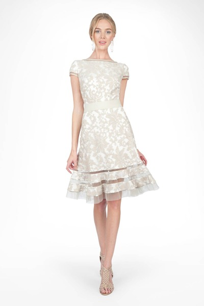#2 EMBROIDERED LACE CAP SLEEVE DRESS WITH SHEER CUT OUT DETAIL
