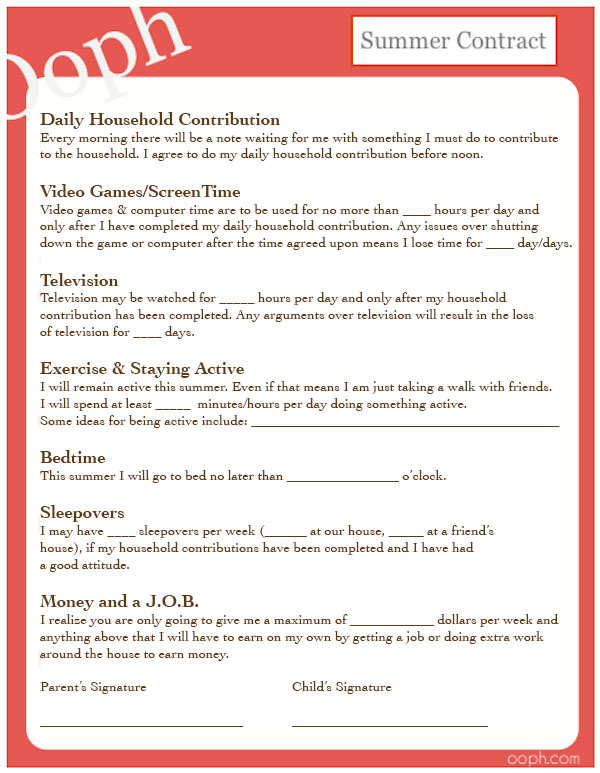 Try This Printable Contract For Your Kids To Help Your Summer Go More Smoothly