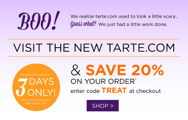 No Tricks, Just Treats: Tarte 20% Off Coupon Code