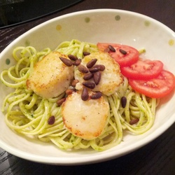 Pesto Linguine With Pan Seared Scallops