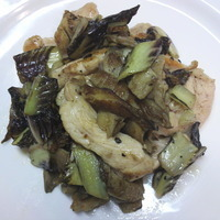 Straccetti di pollo scottati con funghi pleurs e radicchio all'aceto balsamico Recipe