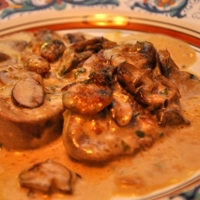 Gratineed Ox Tongue in Mushoom Cream Sauce Recipe