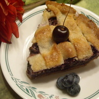 Cherry Blueberry Pie with lattice pie crust Recipe