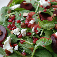 Spinach beet Salad with Strawberry vinaigrette Recipe