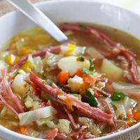 Sauted Corned Beef with Carrots and Cabbage Soup Recipe