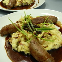 Bloomsday Bangers and Colcannon with Brown Sugar Guinness Gravy Recipe