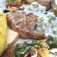 Grilled Veal Chops, Corn, Cucumber Mint, and Heirloom Tomato Caprese Recipe