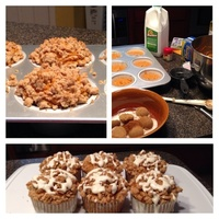 Pumpkins muffins with streusel and cream cheese drizzle Recipe
